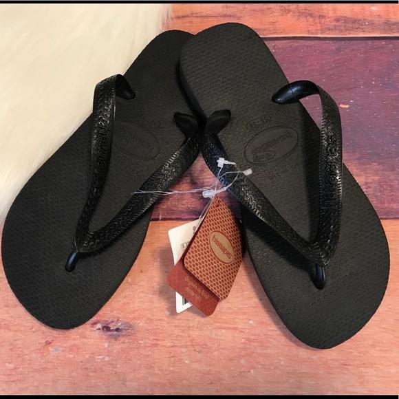 ffdb146e5 Havainas Sandals Flip Flops Size 5 6 Black Thongs. NWT. Havaianas